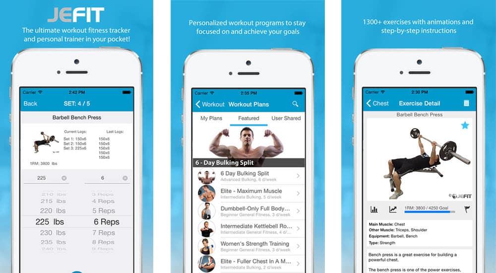 mejores aplicaciones para hacer deporte jefit workout free personal exercise trainer gym log