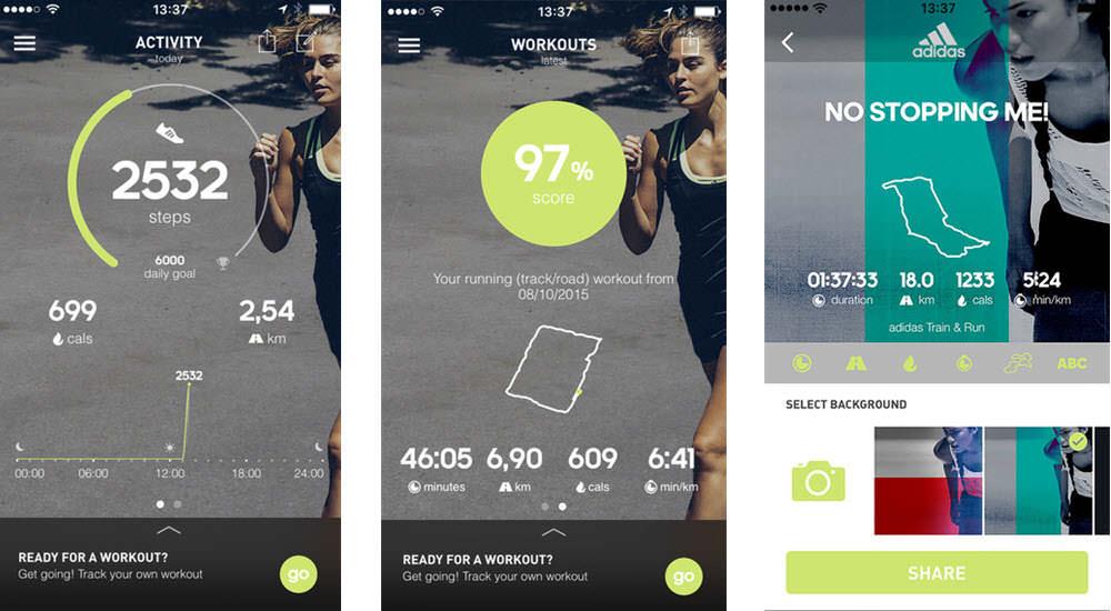 mejores aplicaciones gratis para hacer ejercicio adidas train and run