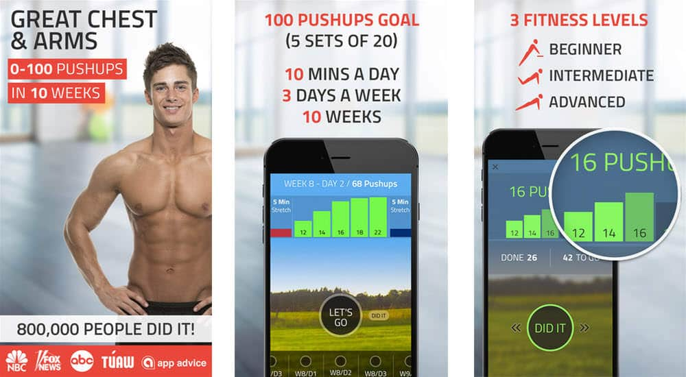 mejores aplicaciones para hacer ejercicio push ups 0 to 100 pushups trainer workout fitness22