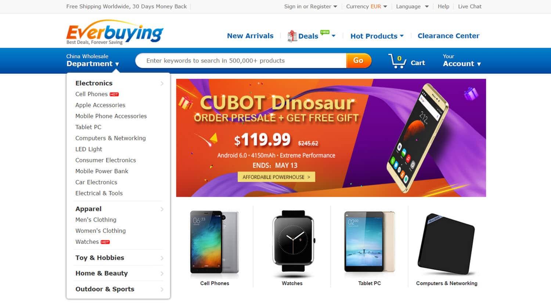 mejores tiendas chinas online comprar barato everbuying