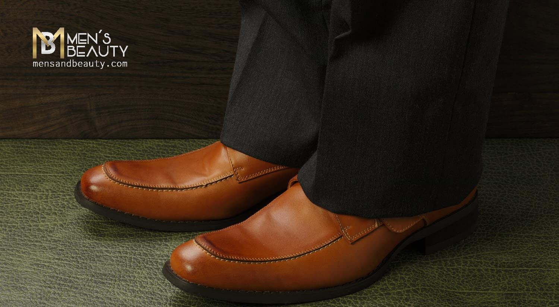 errores hombres vistiendo zapatos marrones traje oscuro