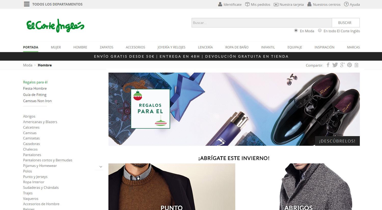 mejores tiendas online para comprar productos para hombres elcorteingles