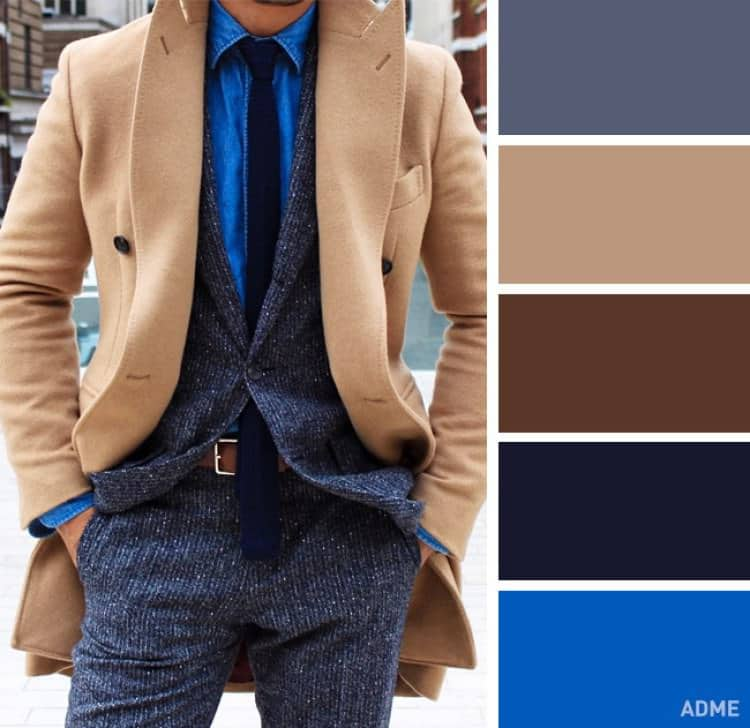 como combinar colores ropa hombre azul beige marron