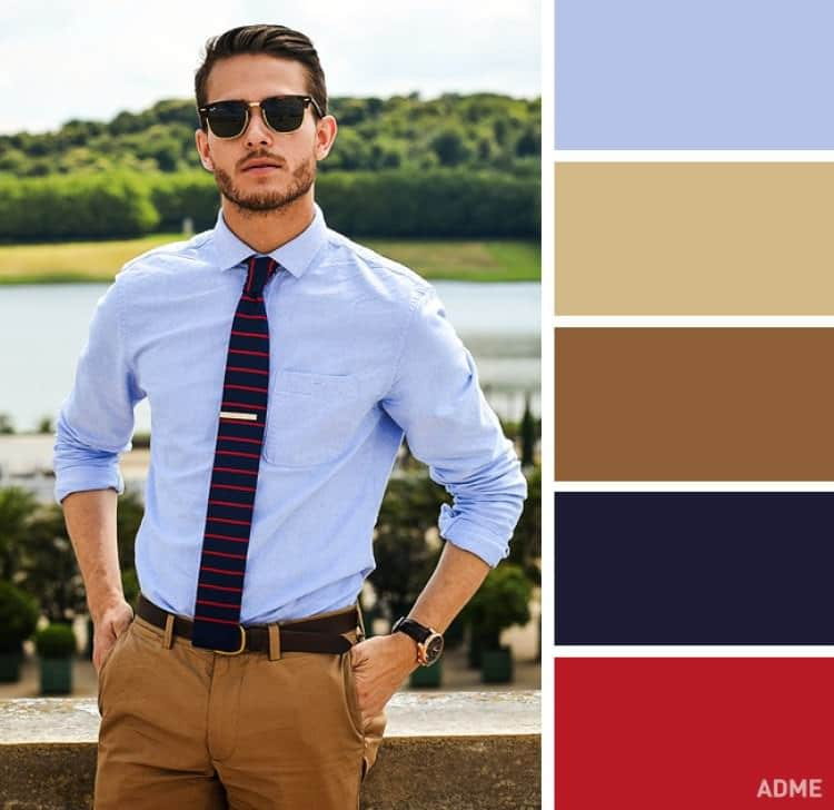como combinar colores ropa hombre azul claro marron mostaza rojo