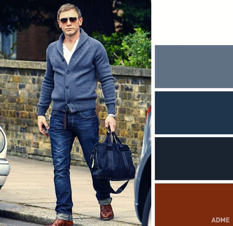 como combinar colores ropa hombre azul marron claro