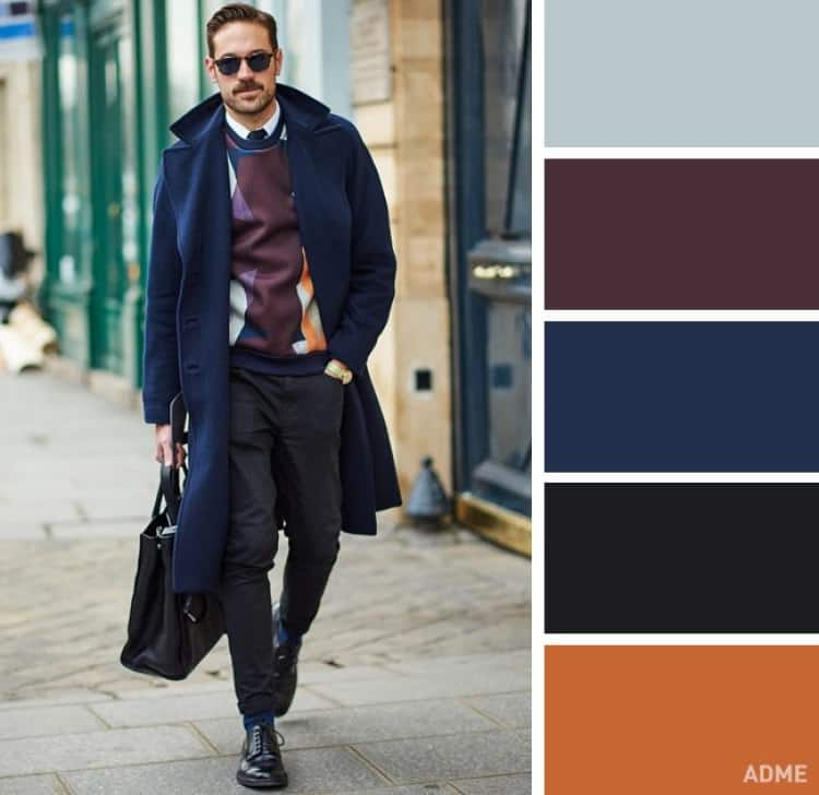 como combinar colores ropa hombre azul marron oscuro naranja