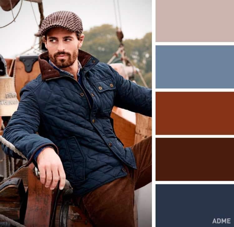 como combinar colores ropa hombre azul marron oscuro