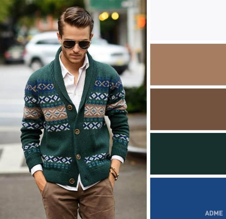 como combinar colores ropa hombre blanco marron verde azul