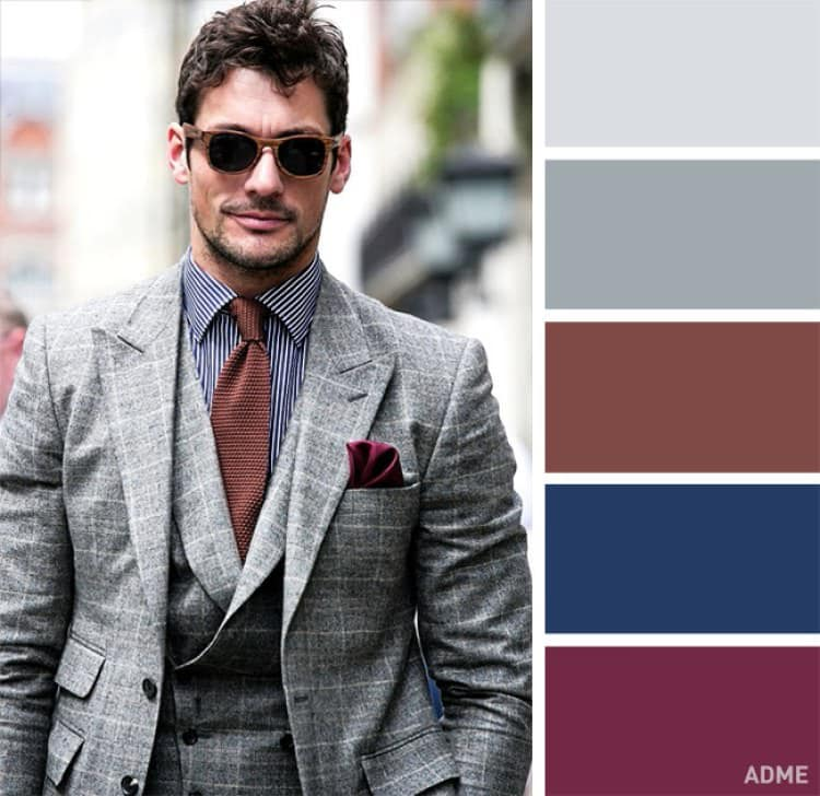 como combinar colores ropa hombre gris marron azul granate