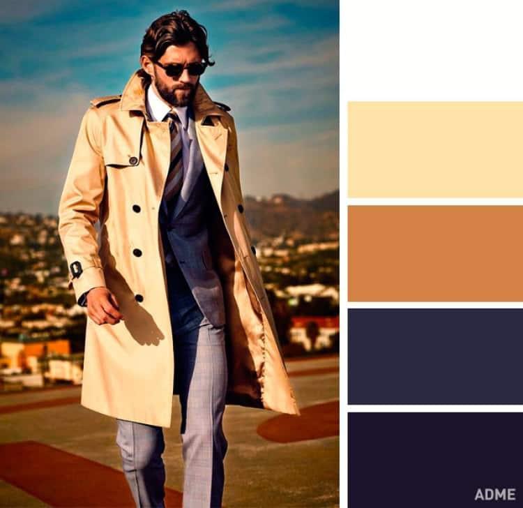 como combinar colores ropa hombre mostaza crema azul oscuro