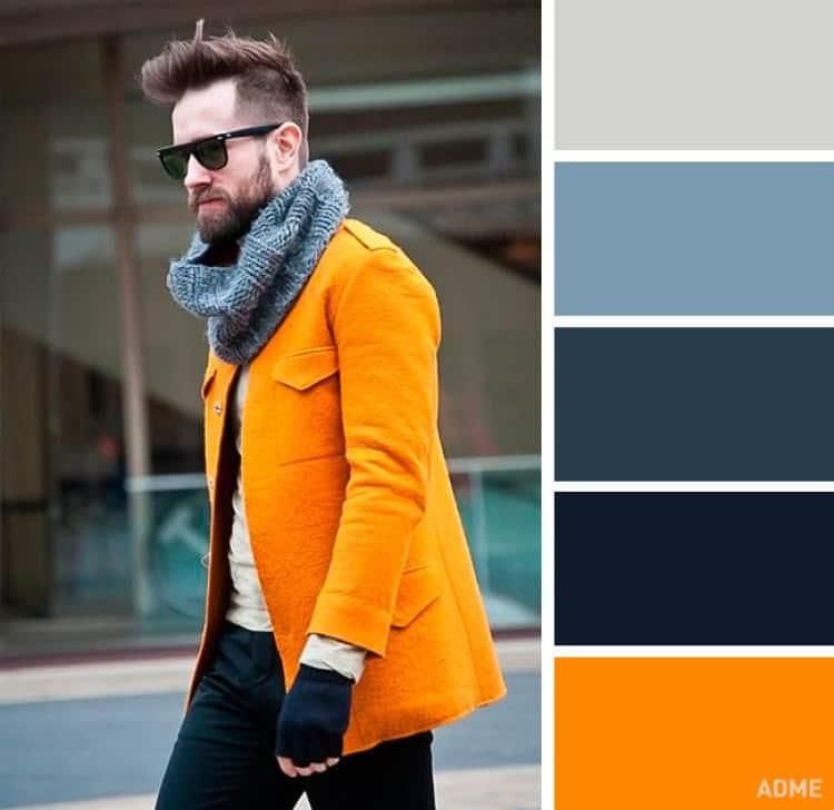 como combinar colores ropa hombre naranja gris azul