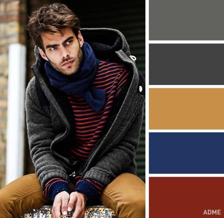como combinar colores ropa hombre naranja gris oscuro azul