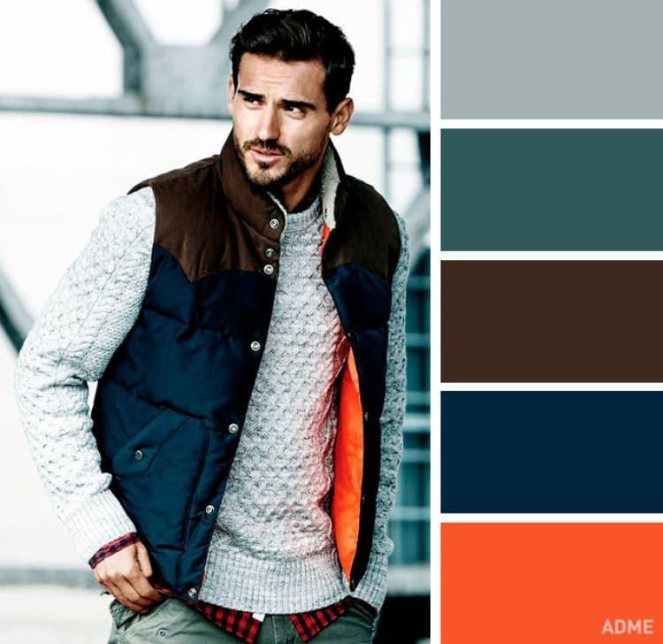 como combinar colores ropa hombre naranja verde oscuro marron