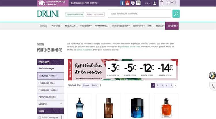 mejores tiendas belleza hombre cosmetica masculina perfumeria online druni