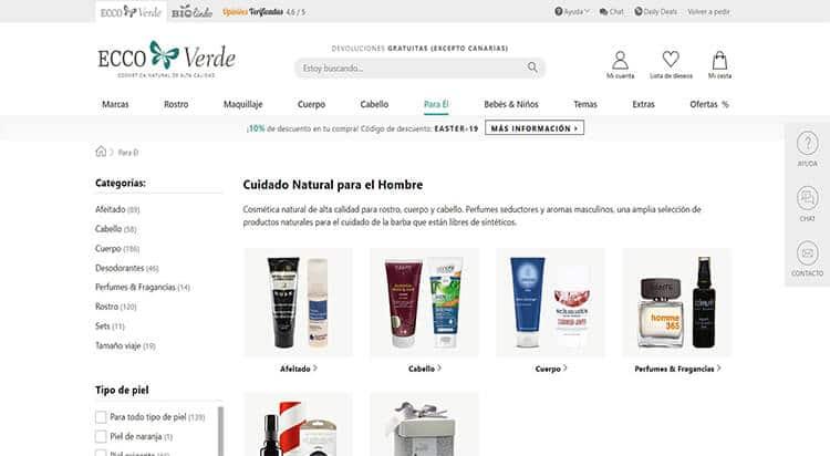 mejores tiendas belleza hombre cosmetica masculina perfumeria online ecoo verde