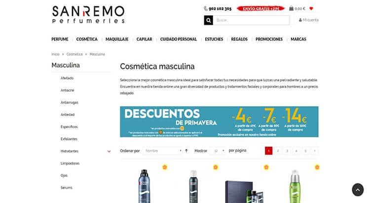 mejores tiendas belleza hombre cosmetica masculina perfumeria online perfumerias san remo