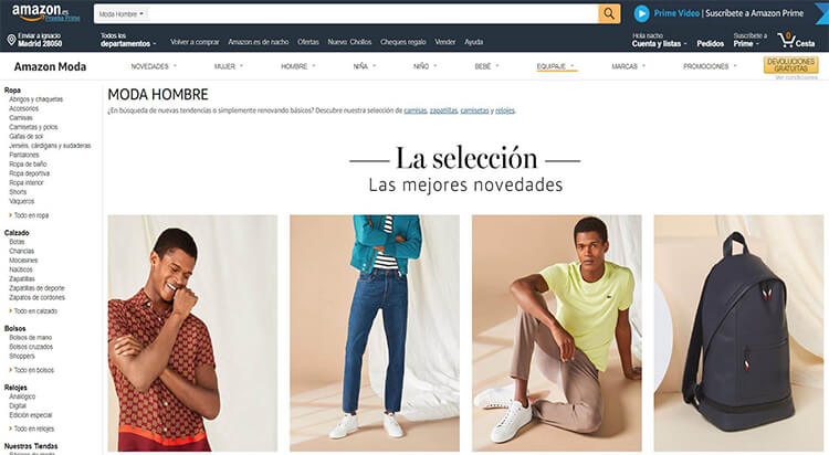 mejores tiendas comprar moda belleza hombre amazon