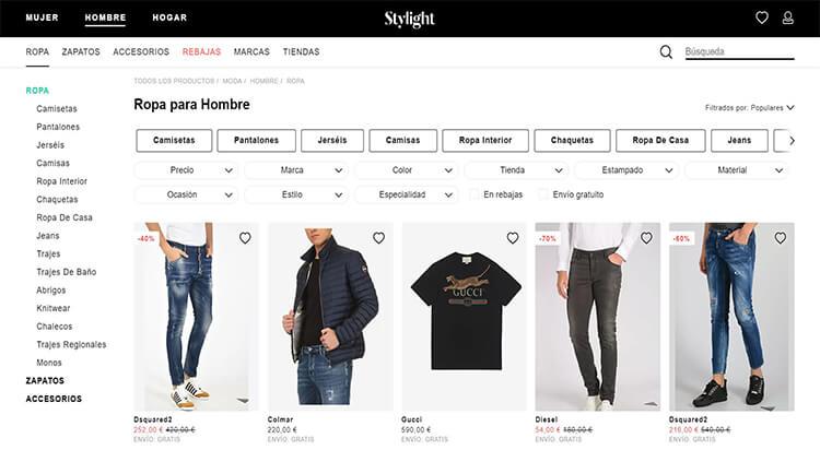 mejores tiendas comprar moda belleza hombre stylight