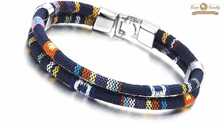 mejores pulseras para hombre cuerda azul marino tribal tibetano